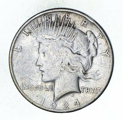 Early - 1924-S - Peace Silver Dollar - 90% US Coin *014