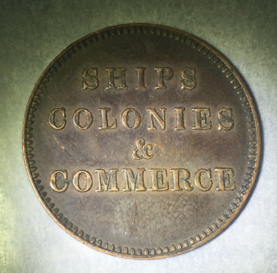 """Pei Canada """"ships Colonies And Commerce"""" Halfpenny Token"""