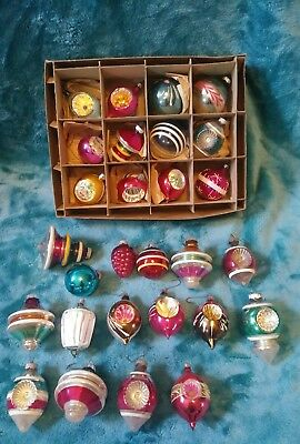 Lot Of 28 Vintage Glass Mercury Shiny Brite Ornaments Indents, Orbs, Grapes