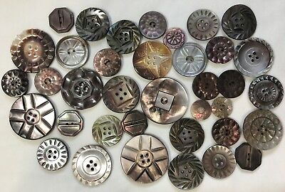 Antique Button Lot 37 Heavily Carved Smoky MOP Shell All Sizes!
