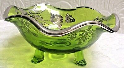 Antique Green Glass Silver Overlay Footed Bowl