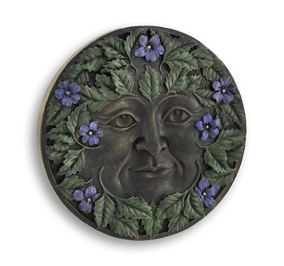 "Celtic Greenman Plaque-Spring - Collectible Green Man 5.5"" Resin"