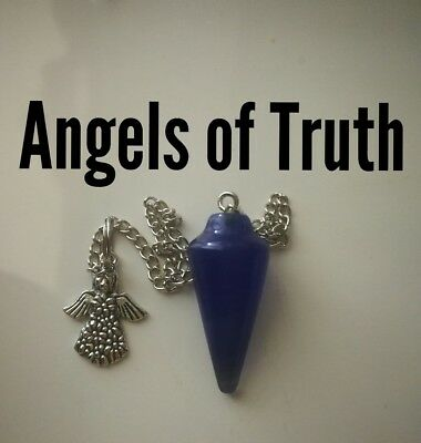 Code 294 Angel of Truth Blue rock crystal Infused Pendulum Doreen virtue certify