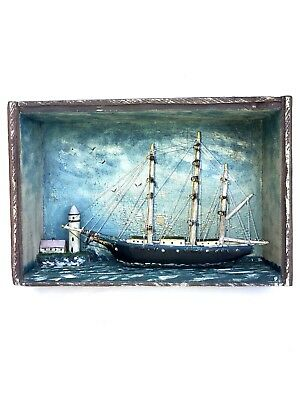 Antique 19th Century Model Sailboat Tall Ship and Lighthouse Painted Diorama