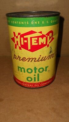 Vintage Hi Temp Premium Motor Oil Quart Oil Can All Metal  Nice Graphics