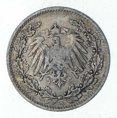 Roughly Size of a Dime - 1906 Germany 1/2 Mark - World Silver Coin *036