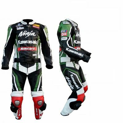 Kawasaki Motorcycle Leather Suit 1 PC/2 PC CE Approved Protections High Quality