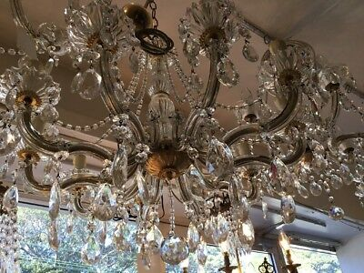VINTAGE CHANDELIER LARGE 10 LOUNGE ROOM CZECH LIGHT FRENCH CRYSTAL No.116