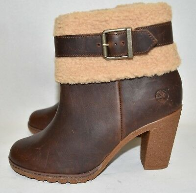 NEW WOMEN'S TIMBERLAND GLANCY BROWN LEATHER FLEECE CUFF MOTO
