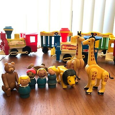 Vtg Mixed Lot 70s 80s Fisher Price Little People Trains Circus 991 Express 2581