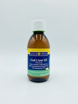 Gold Cross Cod Liver Oil 200mL Natural Source of Vitamin A