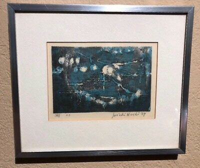 Fantastic Joichi Hoshi Woodblock Print  Signed and Dated 1969