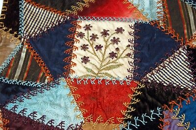 Antique Crazy Quilt Section Flowers Embroidered Stitching Study P10