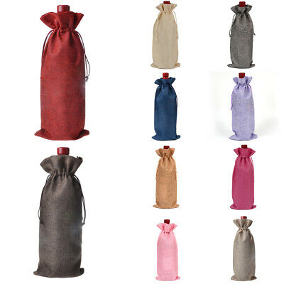 12PCs Rustic Natural Jute Burlap Wine Bags Drawstring Hessian Bottle Gift Covers