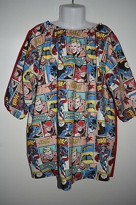 Child's Superhero art smock, size 6-8 - handmade
