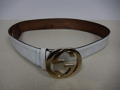 2ca64a28e Pre-owned Auth Gucci Women's White Leather Belt Silver Buckle Made in Italy  41