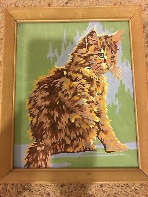 VIntage Framed Paint By Number Kitten