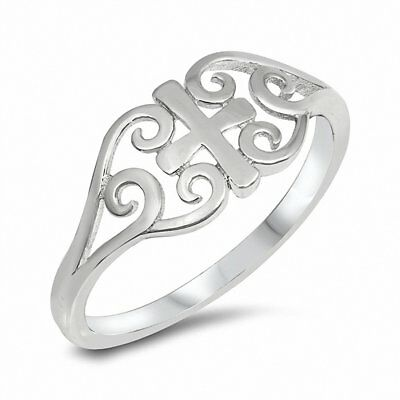 Filigree Cross Medieval Ring Band 925 Sterling Silver Choose Color