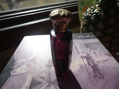 Circa 1880 Antique Amethyst purple Silver -Cap glass perfume-Scent Glass Bottle