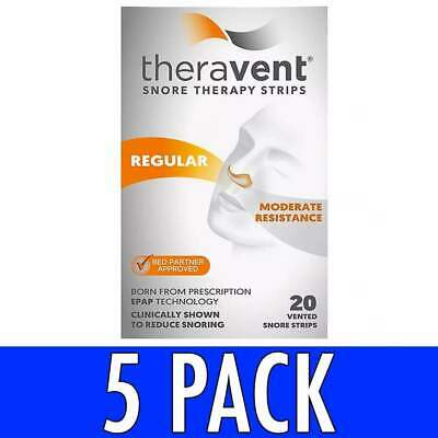 Theravent Snore Therapy Strips, Regular, 20 ea, 5 Pack