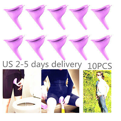US 10pc Lady Urinal Funnel Urination Device Female Urine Outdoor Silicone Travel