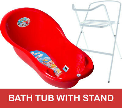 Baby Bath Tub Large 102Cm Thermomether Drain Cars Red + White Stand