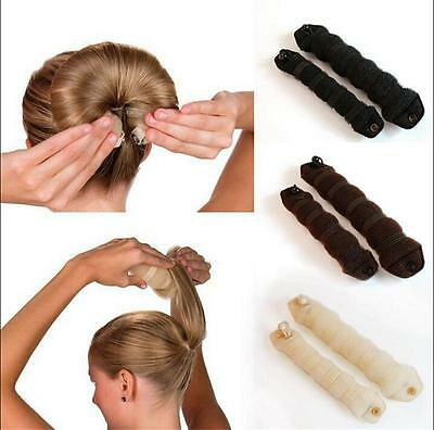 2pcs Magic Sponge Clip Foam Donut Hair Styling Bun Curler Tool v