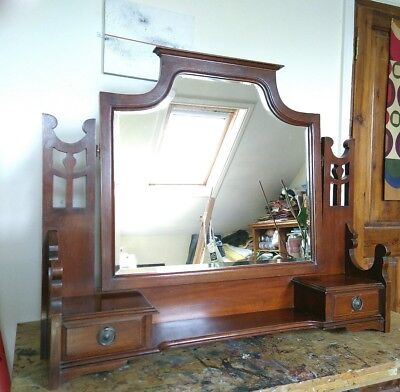 Mahogany Arts & Crafts mirror with drawers
