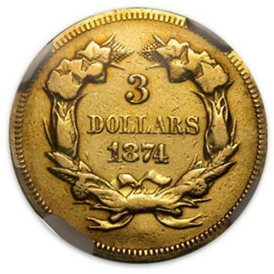 1874 $ 3 Gold RARE US Minted $ 3 Gold Lot 41