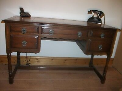Large Solid Oak,leather Embossed Top Writing/office Desk