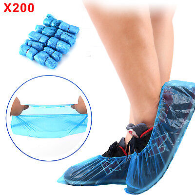 200 x Strong Disposable Shoe Covers Overshoes Blue Carpet Floor Boot Protectors