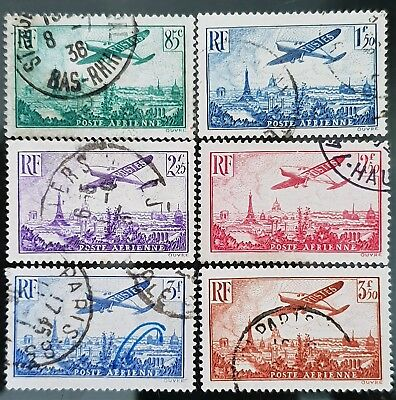 France 1936 Sc # C8 to Sc # C13 Airmail Air Post Used Stamps Set CV US $52.00