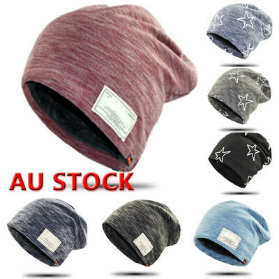 Womens Mens Warm Winter Baggy Beanie Knitted Crochet Ski Hat Slouch Cap AU