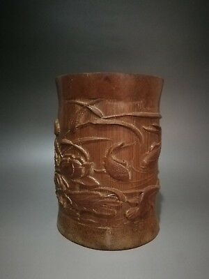 Antique Chinese Hand-Carved Bamboo Brush Pot----Fish and Lotus