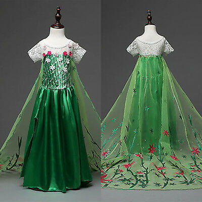 Girls Anna Frozen Princess Satin Fancy Dress Party Cosplay Costumes with Cape