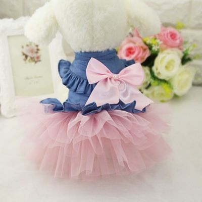 US Pet Dog Princess TUTU Dress Cat Puppy Lace Skirt Female Small Costume Clothes