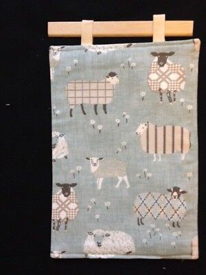 Shabby chic Wall hanging Sheep on Green Padded Cotton 8 X 12 in handmade NEW