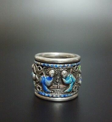 Antique Chinese Silver & Enamel Thumb Ring Signed