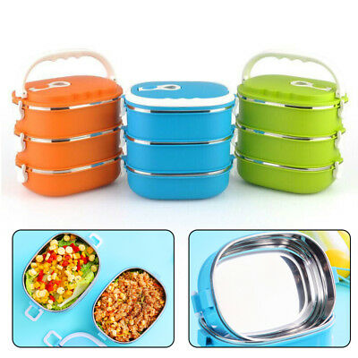 1-3Layer School Stainless Steel Insulated Bento Food Thermal Container Lunch Box