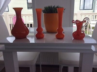 orange glass vases set of 4 all in ex condition