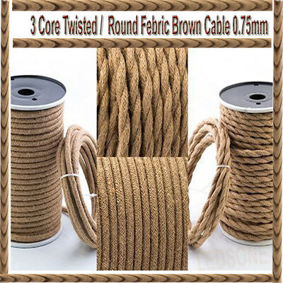 5m Twisted/Round Vintage Brown Fabric Coloured Lighting Cable Flex 3/2 Core UK