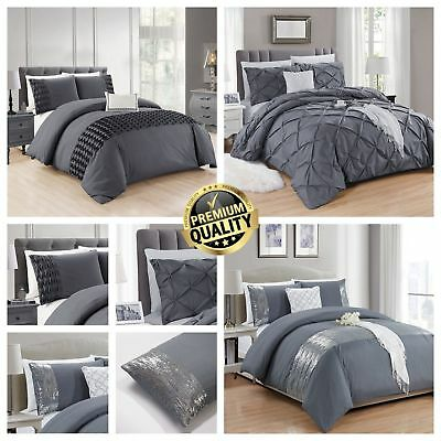 Luxury Duvet Cover with Pillowcase Pintuck - Wrinkle - Sequin Bedding Sets Grey