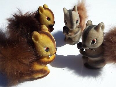 Vintage Fuzzy, Furry. Flocked Squirrels Lot of 4 - with Nut - Made in Japan