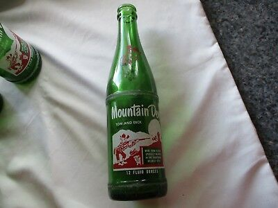 1964 Mountain Dew Hillbilly Soda Bottle # 741  FILLED BY *  TOM and DICK 12 oz