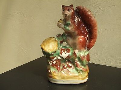 Rare Staffordshire Pottery Model Of A Red Squirrel