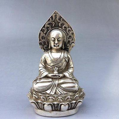 Collectible decorate Chinese Tibet silver Handwork carved Buddha Statue