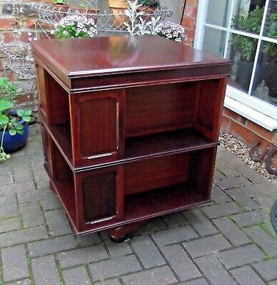 Large Revolving/rotating Vintage Mahogany Bookcase~Eight Book Shelf Sections