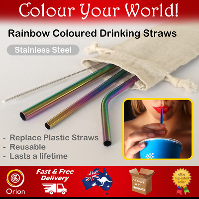 Stainless Steel Reusable Metal Drinking Straw Eco Friendly Rainbow Variety color