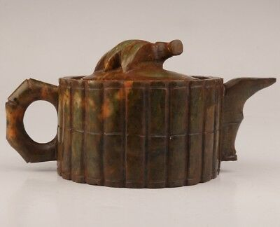 Natural jade teapot kettle old hand-carved bamboo shape collection