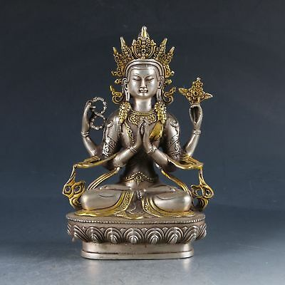 Chinese Silver Copper Gilt Handwork Carved Four Arm Buddha Statue